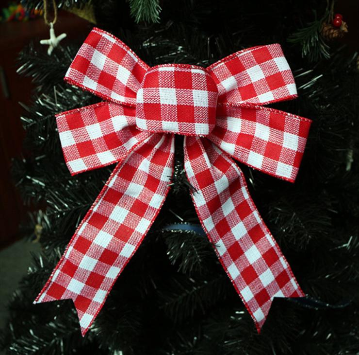 思蜜丝圣诞树蝴蝶结 大蝴蝶结 雪花仿麻带条纹格子黑红绿麻料丝带
