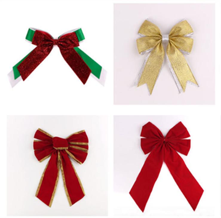 丝蜜思圣诞节蝴蝶结丝带 圣诞蝴蝶结装饰 红绿色蝴蝶结 雪花铃铛
