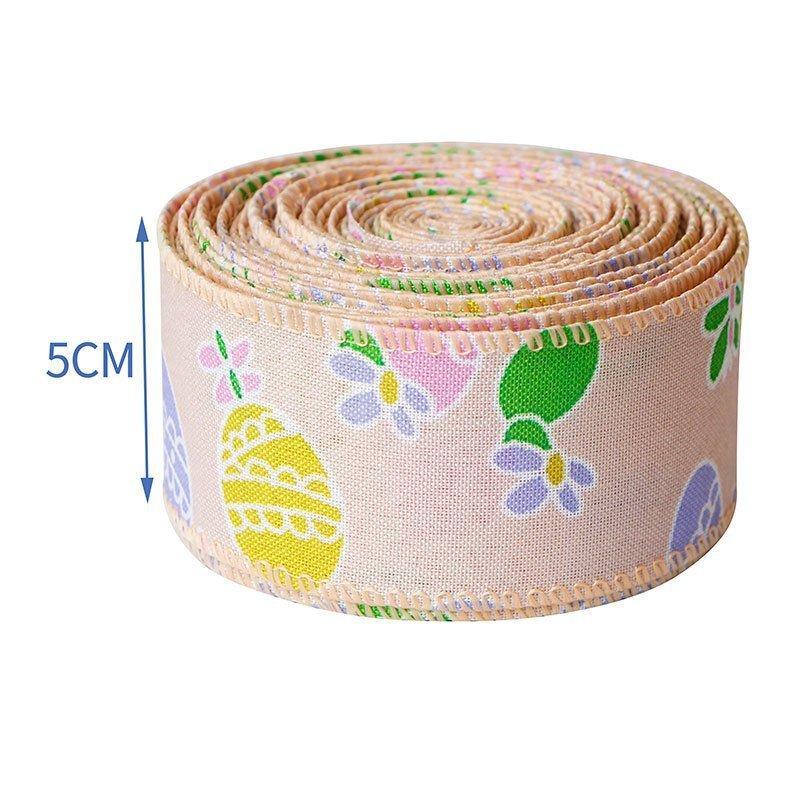 思蜜丝ribbon铁丝边印刷绿色彩蛋复活节织带装饰材料