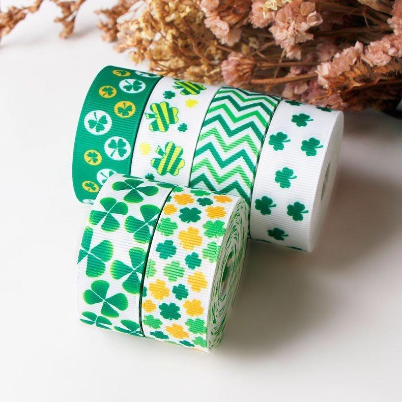 思蜜丝ribbon绿色三叶草螺纹带圣帕特里克节装饰织带