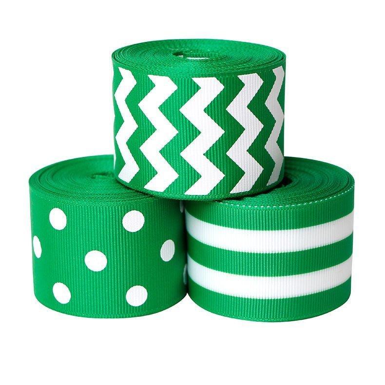 思蜜丝ribbon涤纶绿色螺纹带3.8cm圣帕特里克节装饰
