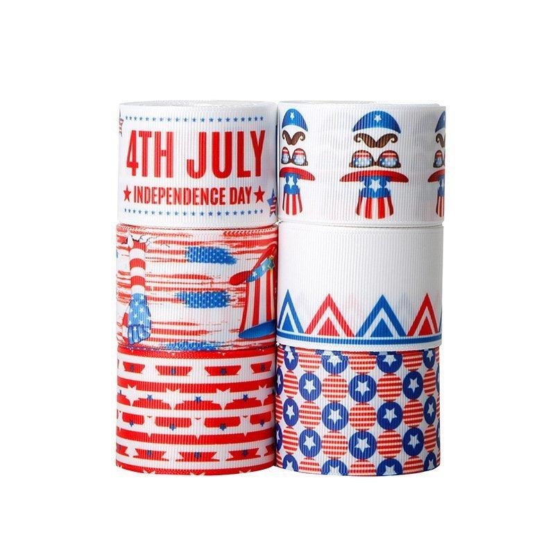 思蜜丝ribbon罗纹带印刷美国国庆节独立日丝带装饰带