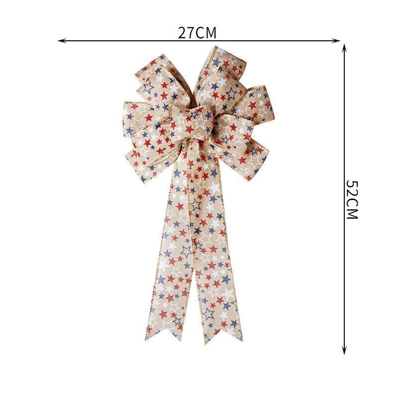思蜜丝ribbon铁丝边麻料丝带美国独立日蝴蝶结装饰品
